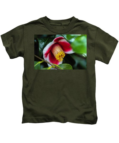 Camellia Bloom And Leaves Kids T-Shirt