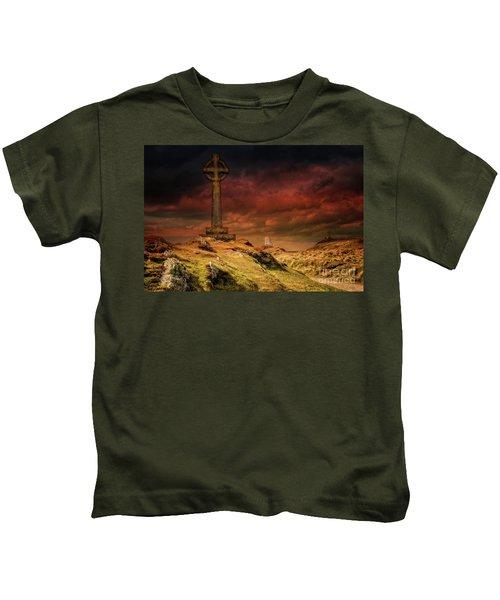 Celtic Cross Llanddwyn Island Kids T-Shirt