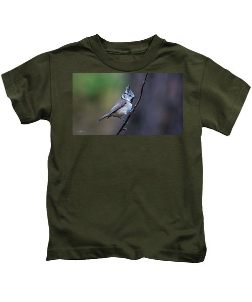 Crested Tit On A Twig Kids T-Shirt