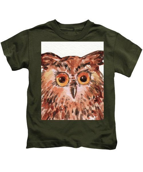 Curious Owl Watercolor Painting Kids T-Shirt