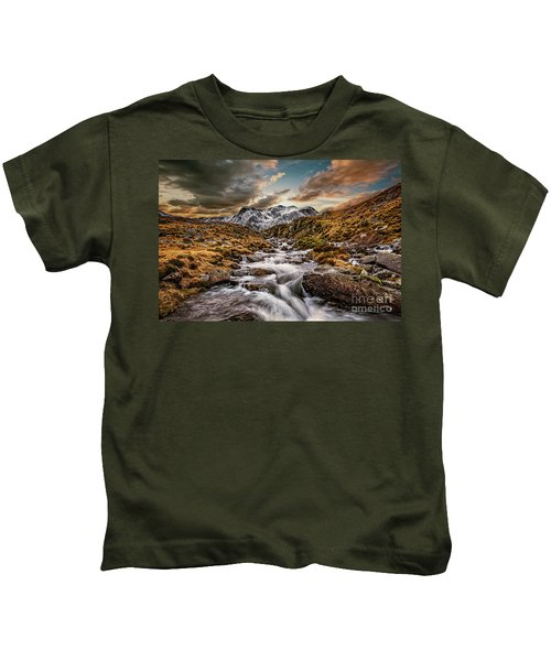 Cwm Idwal Snowdonia Sunset Kids T-Shirt