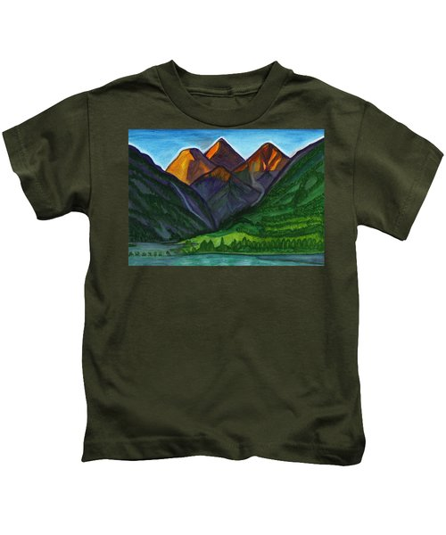 Evening Illumination Of Snowy Mountain Peaks With Waterfalls And A Mountain River Kids T-Shirt