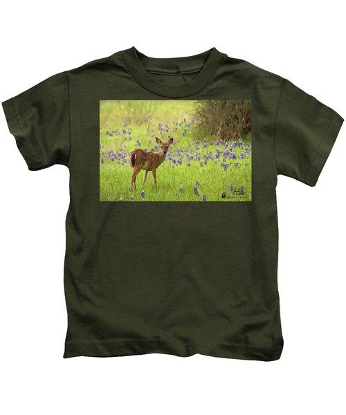 Deer In The Bluebonnets Kids T-Shirt