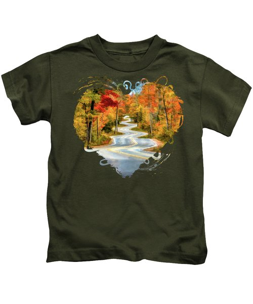 Door County Road To Northport In Autumn Kids T-Shirt
