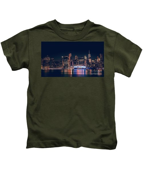 Downtown At Night Kids T-Shirt