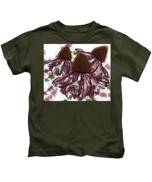 Echinacea Flowers Line Kids T-Shirt