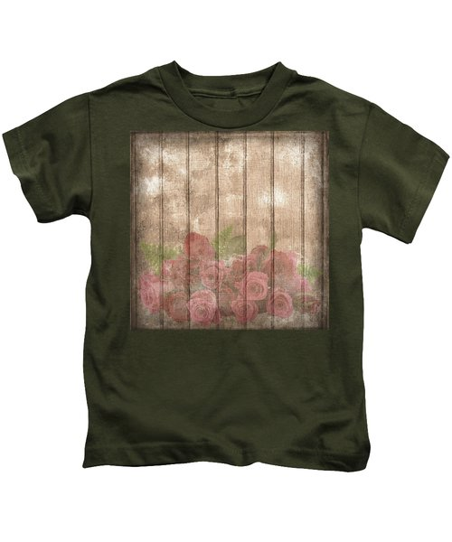 Faded Red Country Roses On Wood Kids T-Shirt