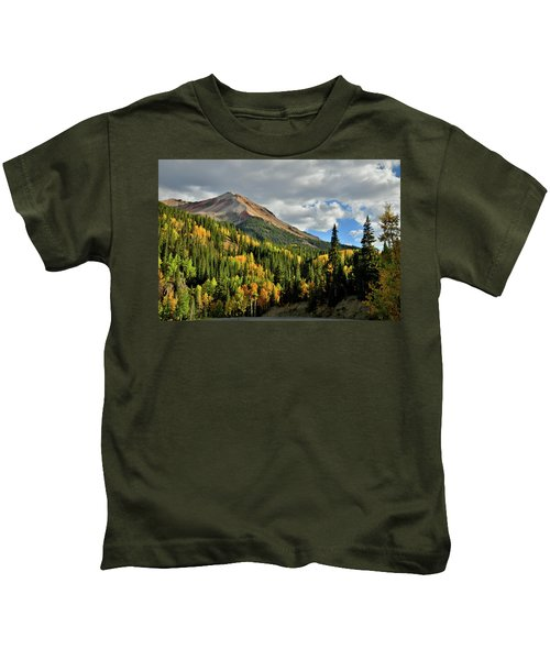 Fall Color Aspens Beneath Red Mountain Kids T-Shirt