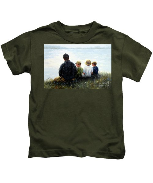 Father Three Sons By Lake Kids T-Shirt