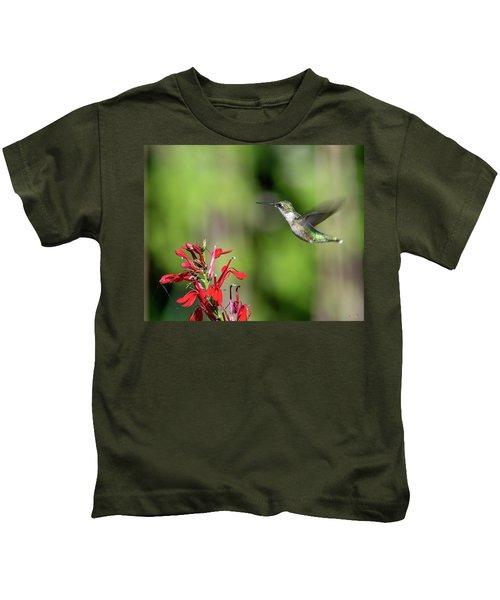 Female Ruby-throated Hummingbird Dsb0320 Kids T-Shirt