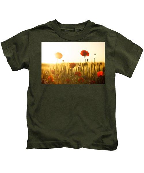 Field Of Poppies At Dawn Kids T-Shirt