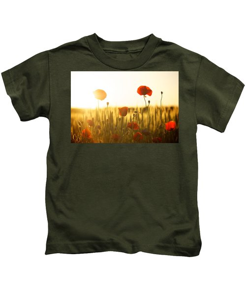 Field Of Poppies At Dawn Kids T-Shirt