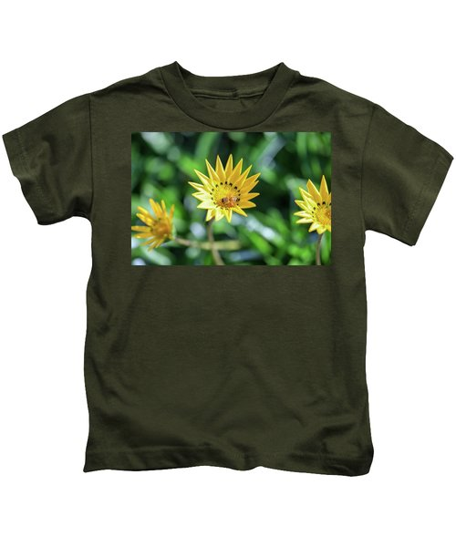 Yellow Flowers And A Bee Kids T-Shirt