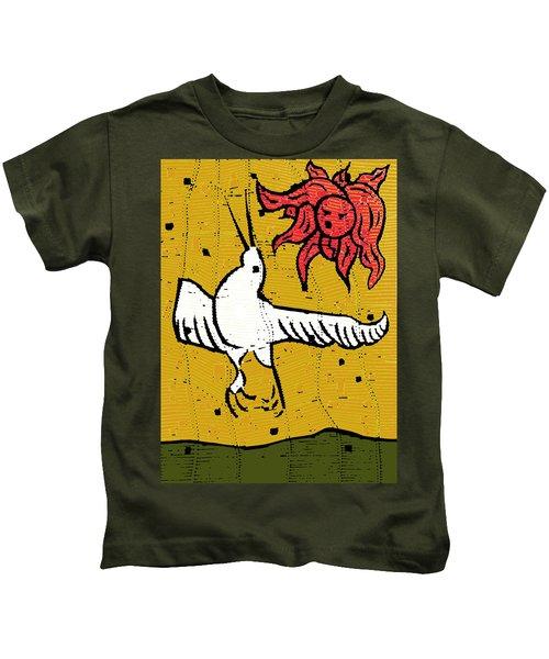 Flying Bird And Red Sun Face Kids T-Shirt