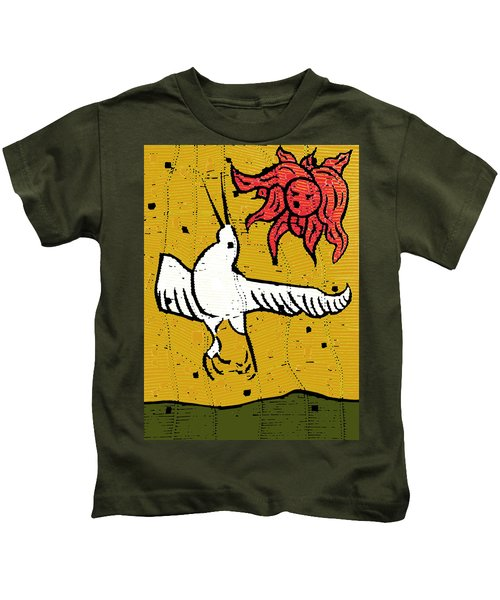 Flying Bird And Red Sun Face Kids T-Shirt