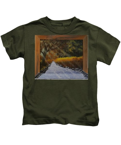 Forest Sunrays Over Water Kids T-Shirt