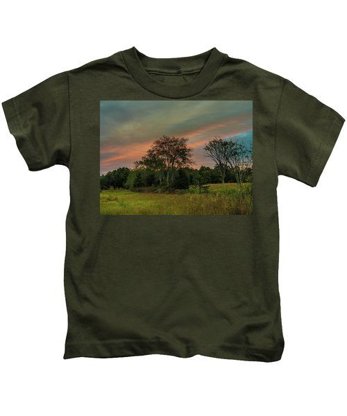 Pine Lands In Friendship Sunrise Kids T-Shirt