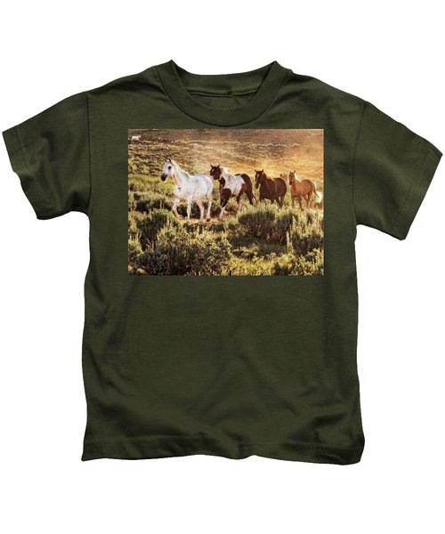 Galloping Down The Mountain Kids T-Shirt