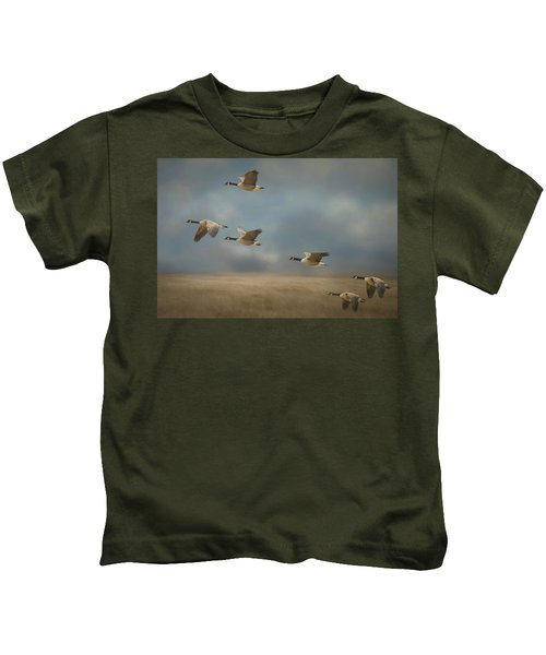 Geese, Coming In For A Landing Kids T-Shirt