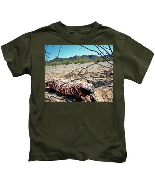 Kids T-Shirt featuring the photograph Gila Monster In The Arizona Sonoran Desert by Judy Kennedy