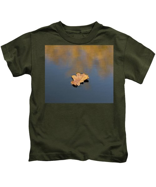 Golden Leaf On Water Kids T-Shirt