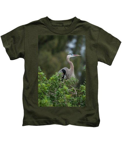 Great Blue Heron Portrait Kids T-Shirt