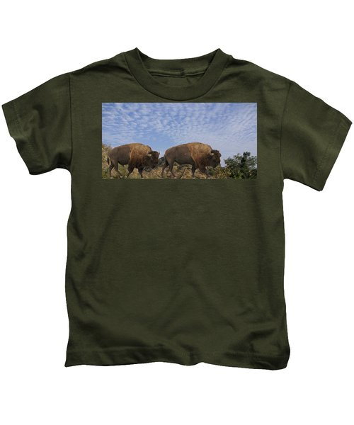 Group Of Bison Walking Against Rocky Mountains  Kids T-Shirt