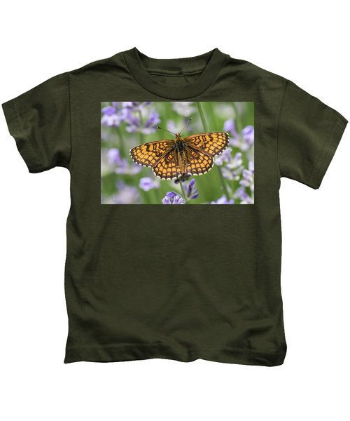 Heath Fritillary On The Lavender Kids T-Shirt