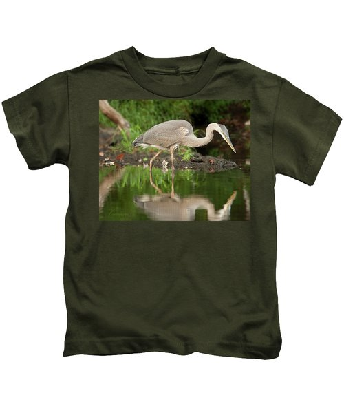 Heron Fishing Kids T-Shirt
