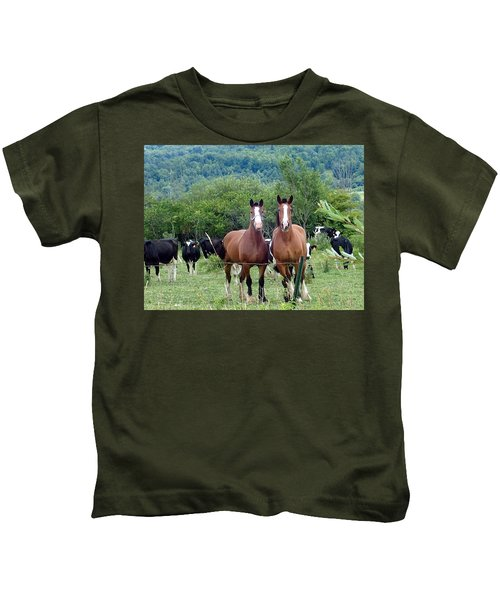 Horses And Cows.  Kids T-Shirt