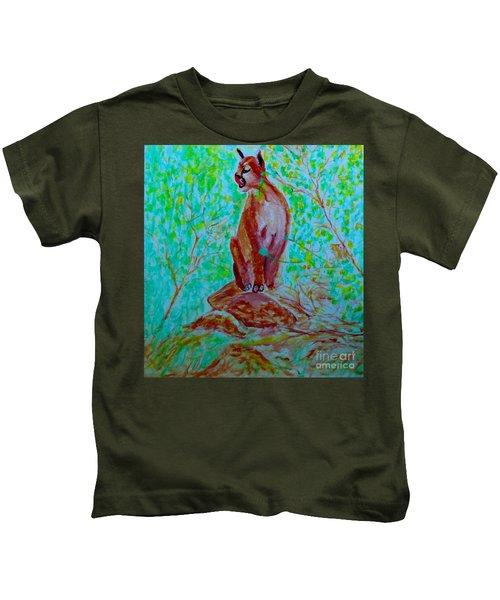 Hungry Mountain Lion Kids T-Shirt