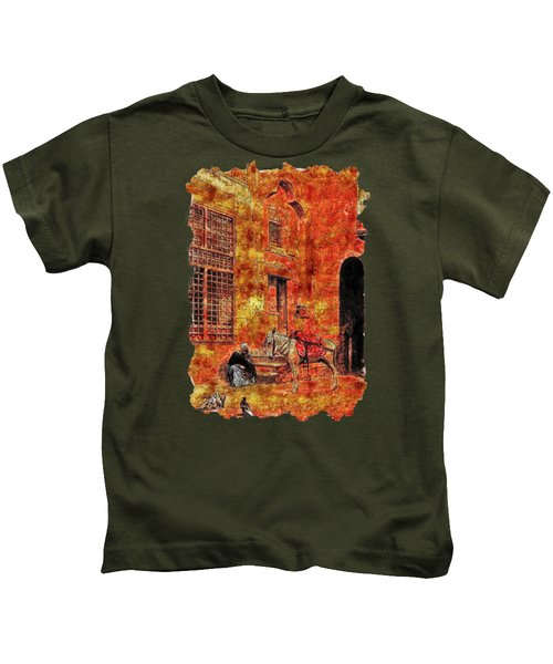 Impressionist Watercolor Drawing - Carrier Kids T-Shirt