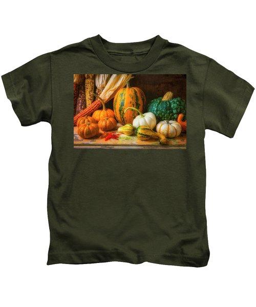 Indian Corn, Pumpkins And Gourds Kids T-Shirt