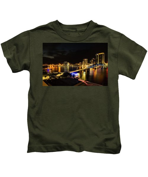 Jacksonville Skyline By Night Kids T-Shirt