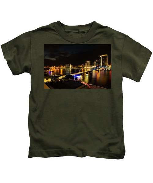 Jacksonville Skyline By Night Kids T-Shirt