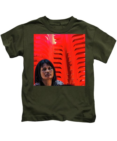 Lady With Red Chairs Kids T-Shirt