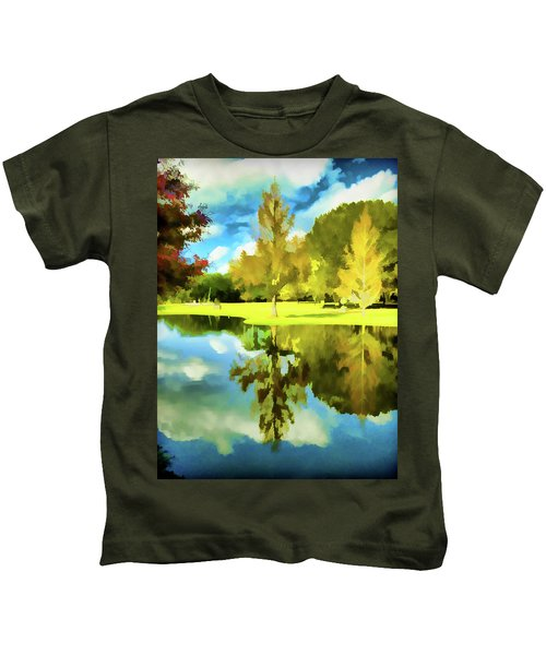Lake Reflection - Faux Painted Kids T-Shirt