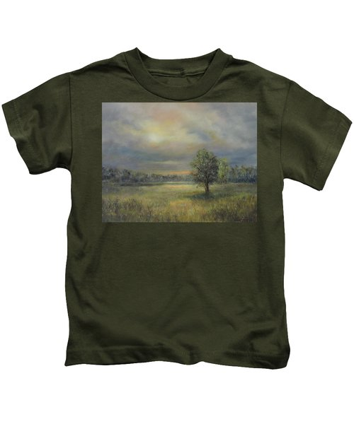 Landscape Of A Meadow With Sun And Trees Kids T-Shirt
