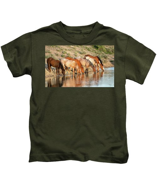 Lineup At The Pond-- Wild Horses Kids T-Shirt