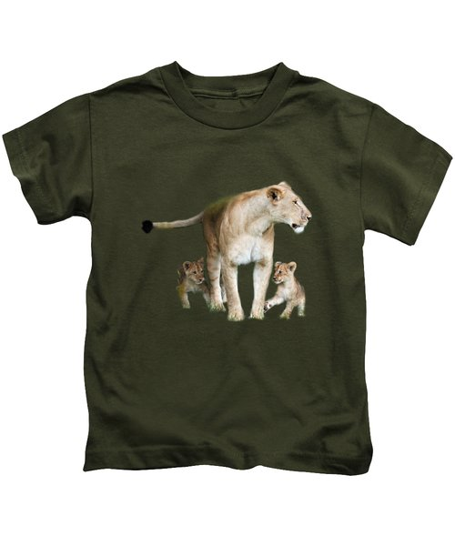 Lioness And Her Cubs Playing  Kids T-Shirt