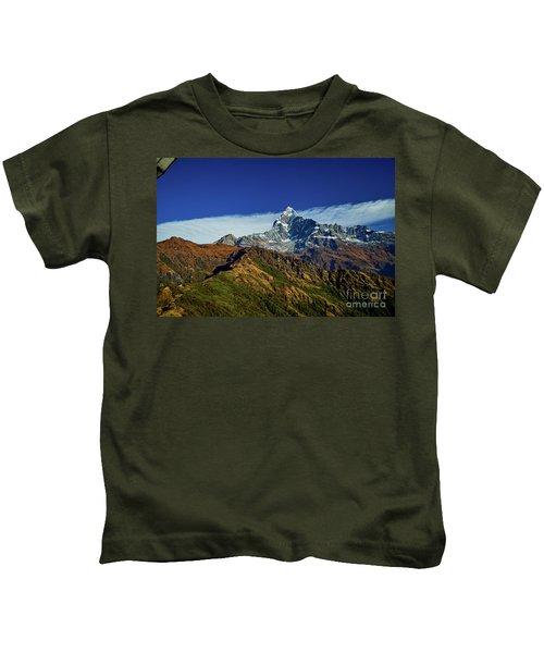 Machapuchare Mountain Fishtail In Himalayas Range Nepal Kids T-Shirt