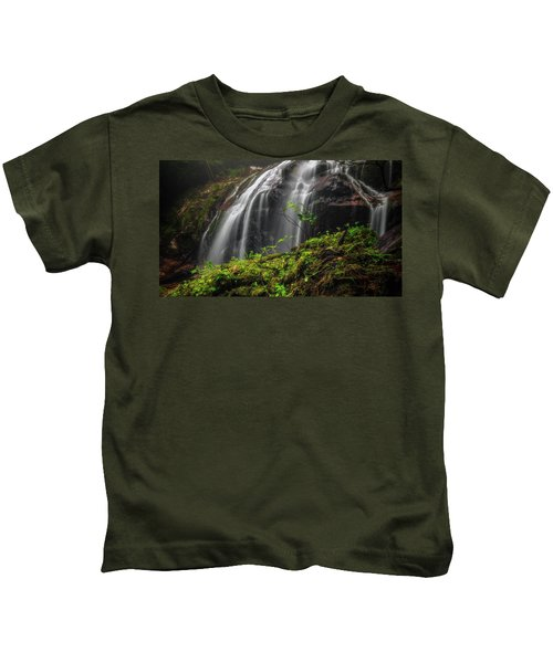 Magical Mystical Mossy Waterfall Kids T-Shirt
