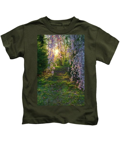 Magnolia Tree Sunset Kids T-Shirt