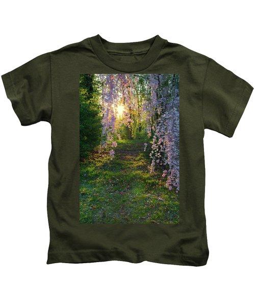 Magnolia Tree Sunset Kids T-Shirt