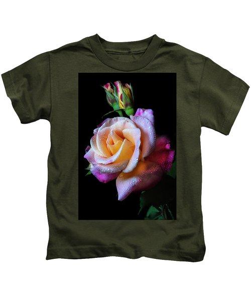 Mardi Gras Rose Portrait Kids T-Shirt