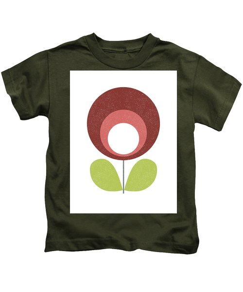 Mid Century Modern Brown Flower  Kids T-Shirt