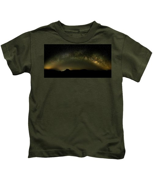 Milky Way Arch Panorama Over Tianping Mountain And Ridge-line Kids T-Shirt