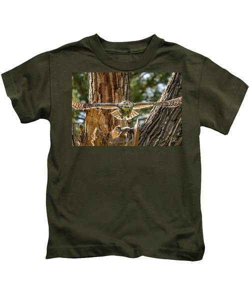 Momma Great Horned Owl Blasting Out Of The Nest Kids T-Shirt