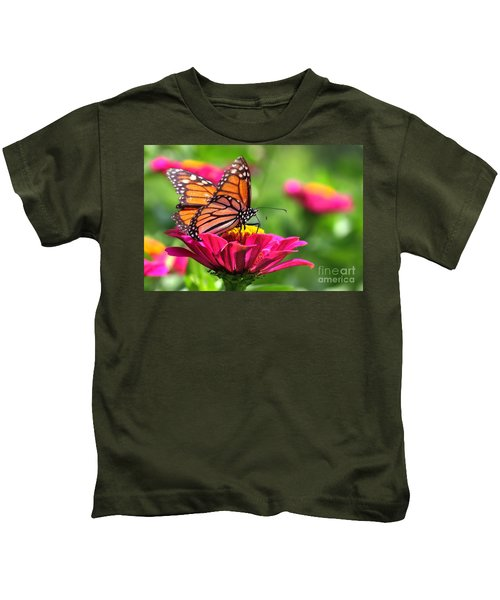 Monarch Visiting Zinnia Kids T-Shirt