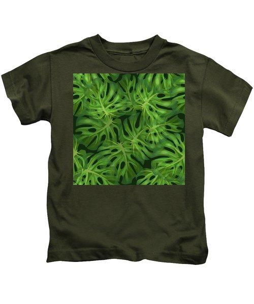 Monstera Leaf Pattern 1 - Tropical Leaf Pattern - Dark Green - Tropical, Botanical Pattern Design Kids T-Shirt